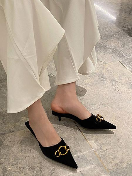 Milanoo High Heel Mules White PU Leather Pointed Toe Metal Detail Kitten Heel Slide Shoes