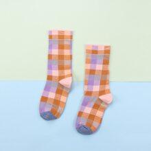 1 Paar Socken mit Plaid Muster