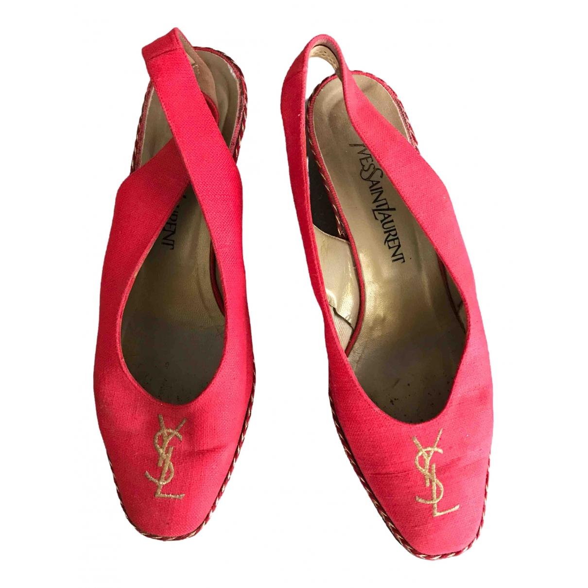 Yves Saint Laurent - Espadrilles   pour femme en toile - rouge