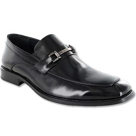 Stacy Adams Blake Mens Leather Moc-Toe Slip-On Dress Shoes, 10 1/2 Medium, Black