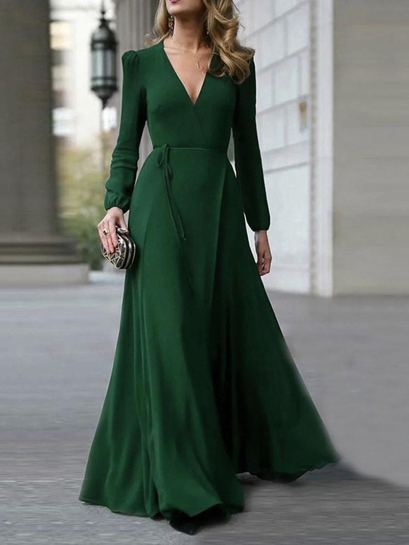 Ericdress Long Sleeve V-Neck Floor-Length Expansion Women's Dress