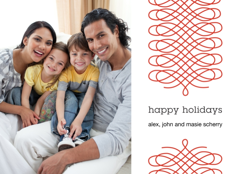 Holiday Photo Cards Flat Matte Photo Paper Cards with Envelopes, 5x7, Card & Stationery -Ribbon Happy Holidays