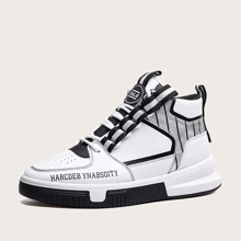 Maenner Sneakers mit Buchstaben Grafik und hohem Schaft