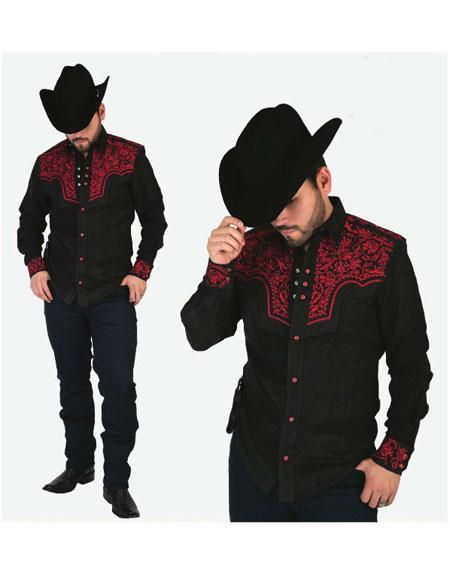 Mens Negro Collar Long Sleeves Floral Pattern Shirt