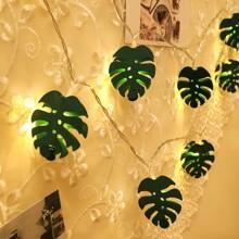 1pc String Light With 10pcs Leaf Shaped Bulb