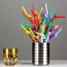 50pcs Disposable Flexible Straw Without Storage Box