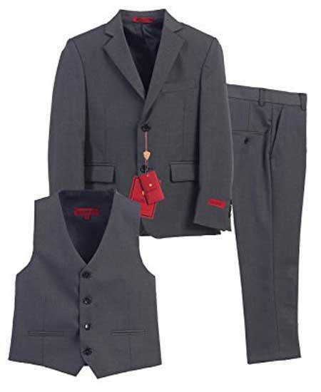 Boys 3 Piece Single Breasted Formal Notch Lapel Vest Charcoal Suit