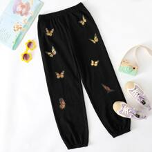 Girls Butterfly Print Sweatpants