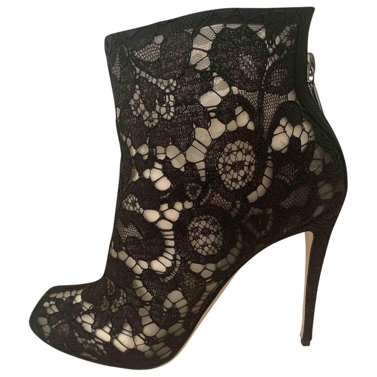 Dolce & Gabbana Taormina Black Cloth Ankle boots for Women 39 IT