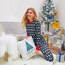 Christmas Print Contrast Binding PJ Set