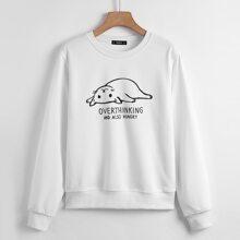Sweatshirt mit Karikatur Katze & Buchstaben Grafik
