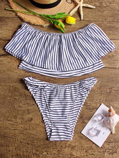 Yoins Stripe pattern Sexy Off Shoulder Tiered Swimwear