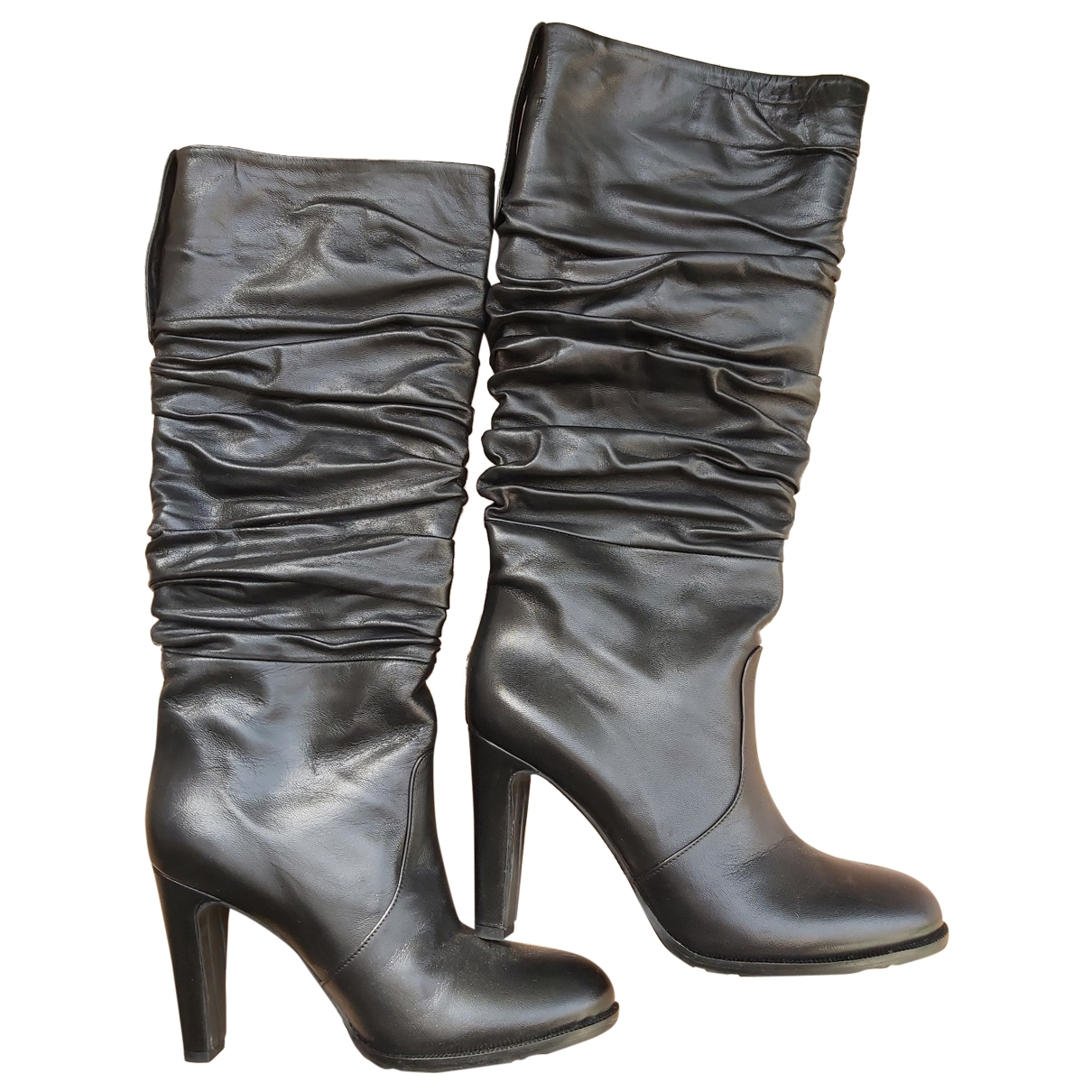 John Richmond \N Black Leather Boots for Women 40 EU