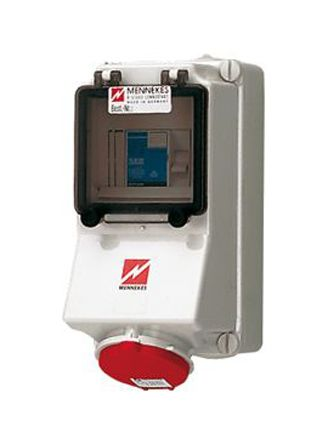 MENNEKES IP44 Red Wall Mount 4P 25 ° Industrial Power Socket, Rated At 16.0A, 400 V
