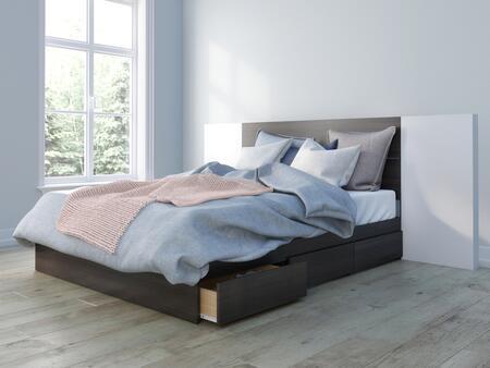 402010 Nexera 3 Piece Queen Bed with Storage Platform Bed + Headboard + Panel (2 per Box)  in Ebony Laminate & White