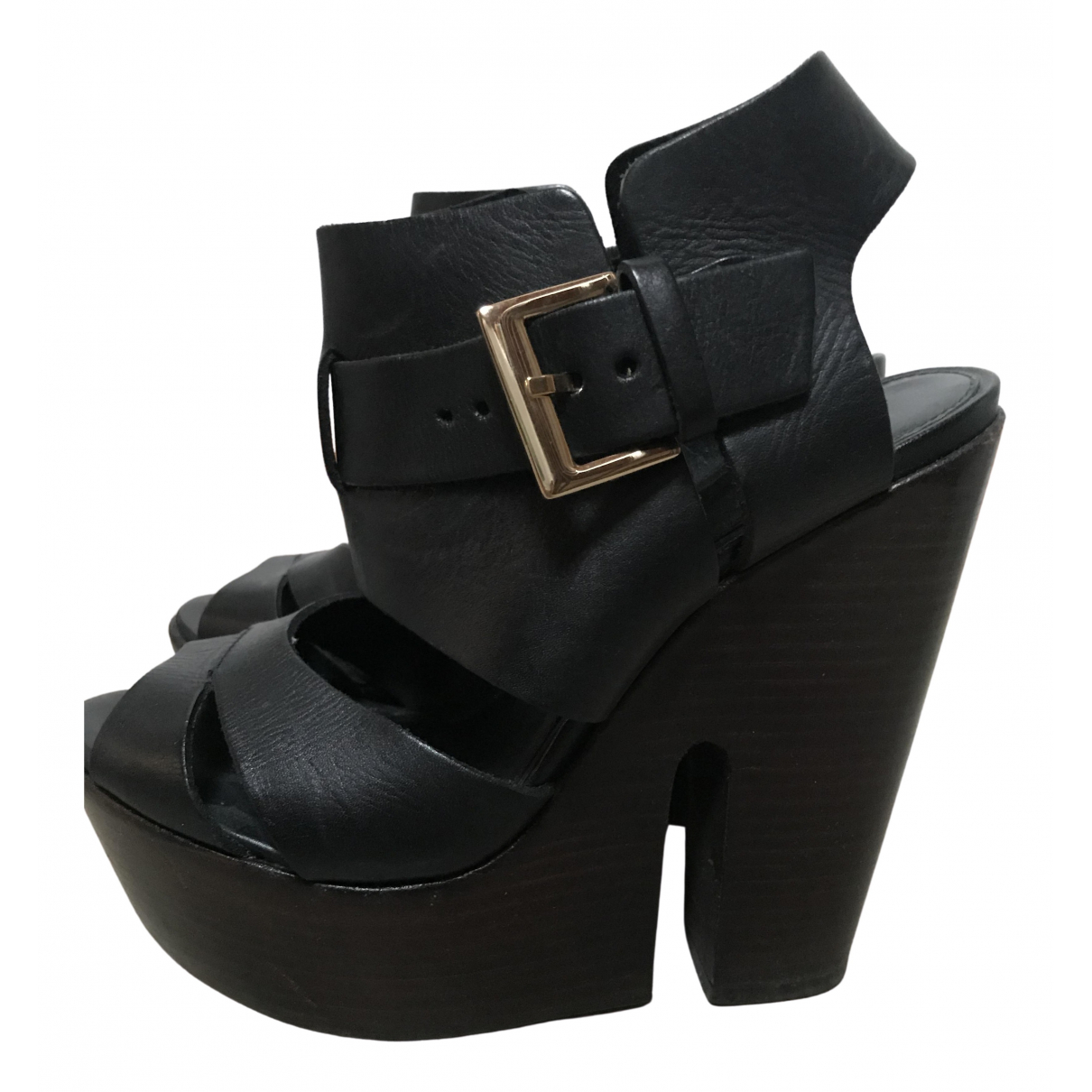 tophop \N Black Leather Sandals for Women 37 EU