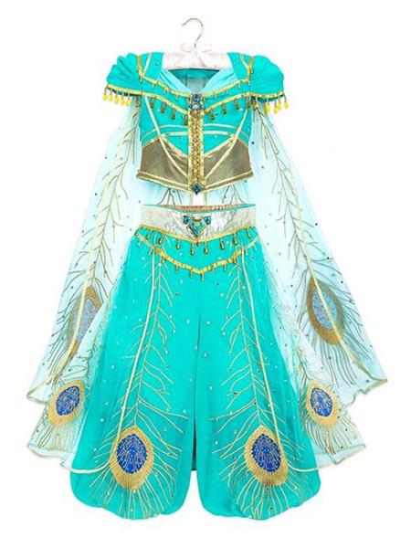 Milanoo Alladin Flim Cosplay Princess Jasmine Aqua Tulle Chiffon Disney Cartoon Cosplay Halloween