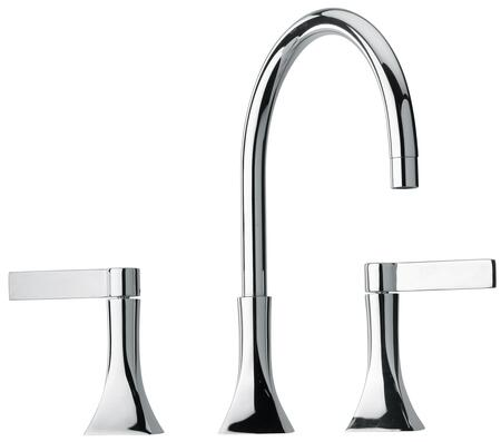 17214-120 Two Blade Handle Widespread Lavatory Faucet With Goose Neck Spout  Designer Polished Gold