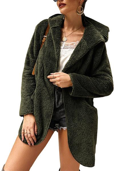 Milanoo Abrigos de peluche con capucha Chaqueta de lana de manga larga Abrigo de invierno con cremallera completa