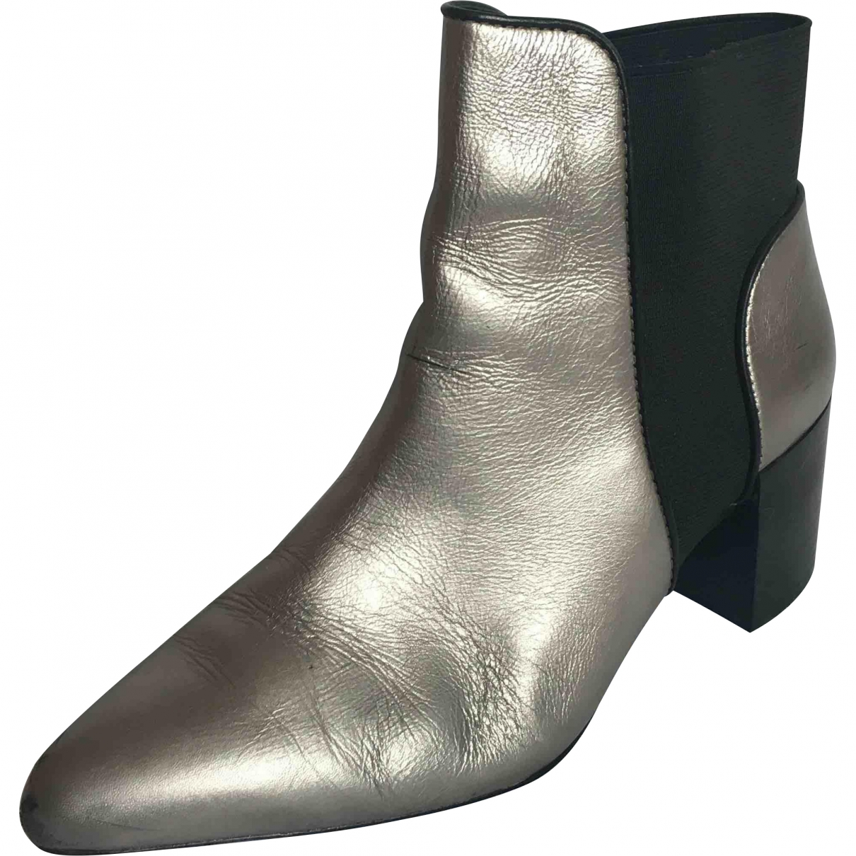 Zara \N Silver Leather Ankle boots for Women 37 EU