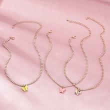 3pcs Rhinestone Decor Butterfly Charm Necklace
