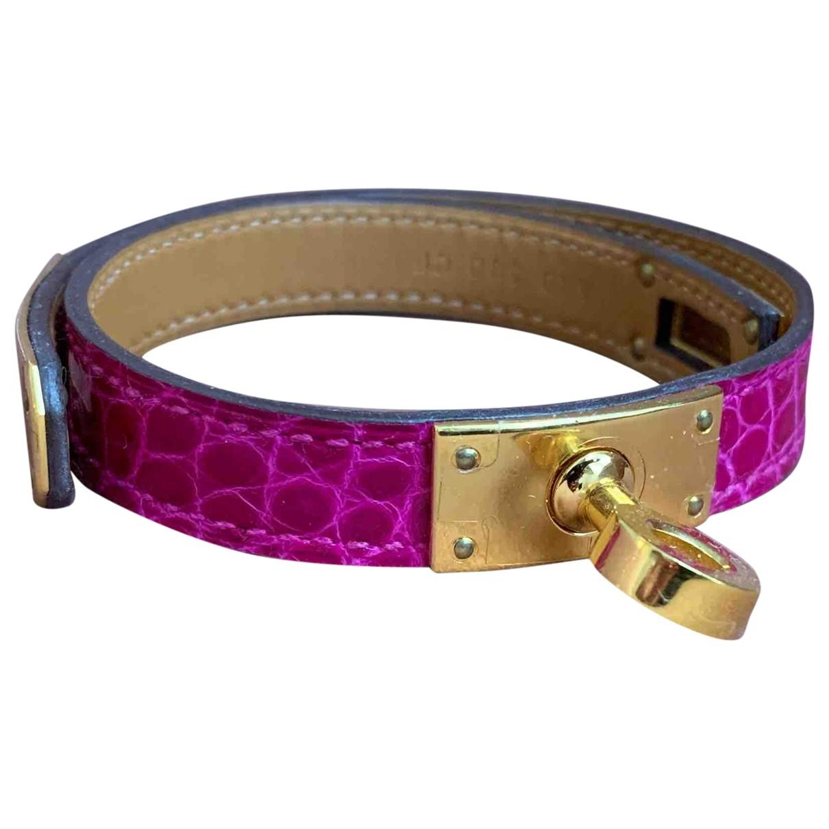 Hermès Kelly Double Tour Pink Alligator bracelet for Women \N