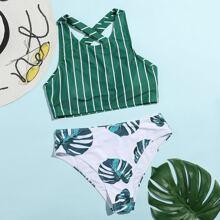 Stripe & Leaf Print Crisscross Bikini Swimsuit