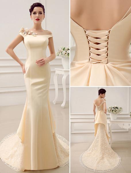 Milanoo Vestido de novia con escote barco y lentejuelas de cola larga