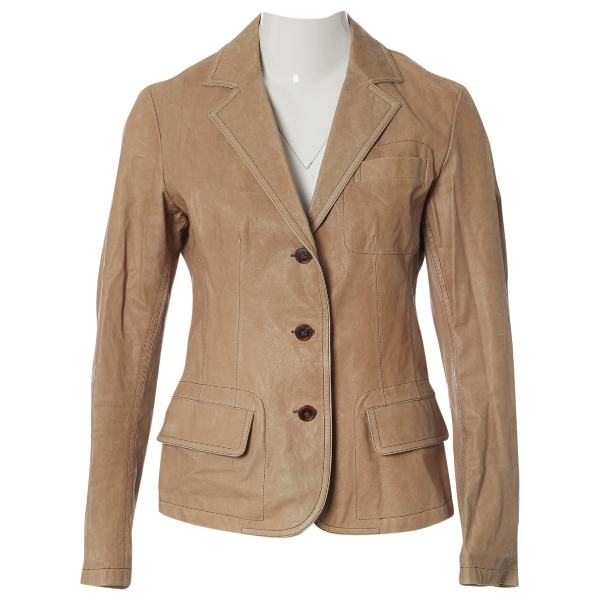 Jil Sander \N Beige Leather jacket for Women 40 FR