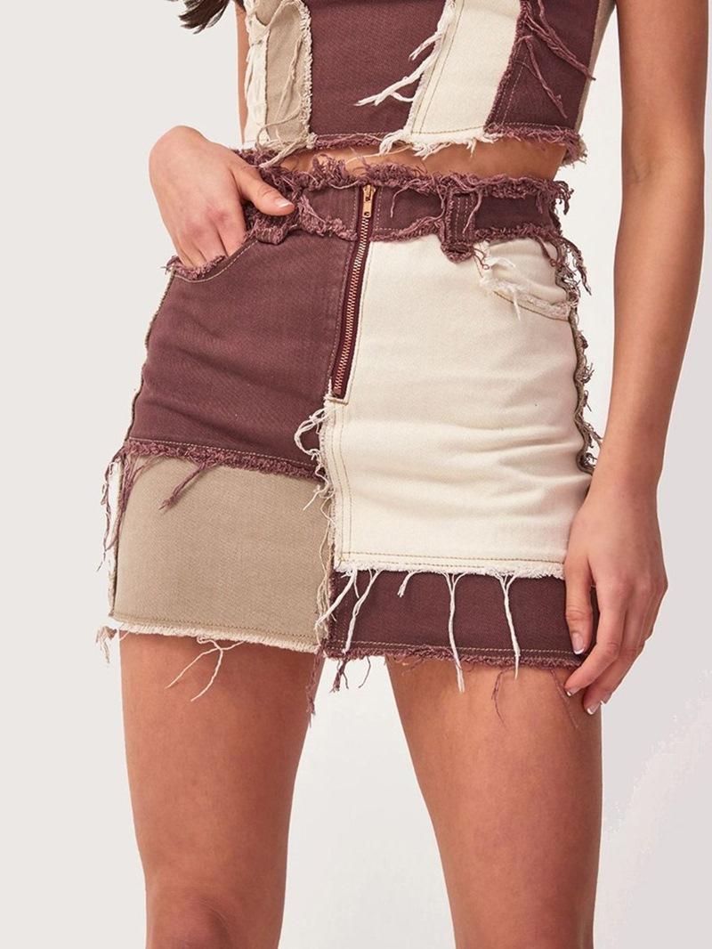 Ericdress Zipper Color Block Bodycon Sexy Skirt