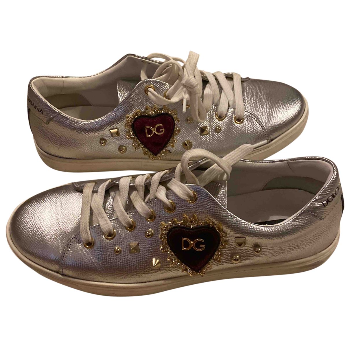 Dolce & Gabbana N Silver Leather Trainers for Women 39.5 EU