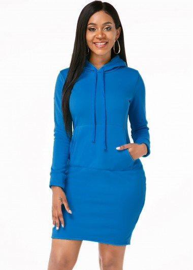 Rosewe Women Blue Long Sleeve Hooded Collar Sport Dress With Kangaroo Pockets Solid Color Sheath Mini Casual Dress - M