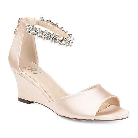 Journee Collection Womens Connor Pumps Zip Open Toe Wedge Heel, 8 Medium, Beige