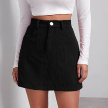 Buttoned Front Cord Skirt