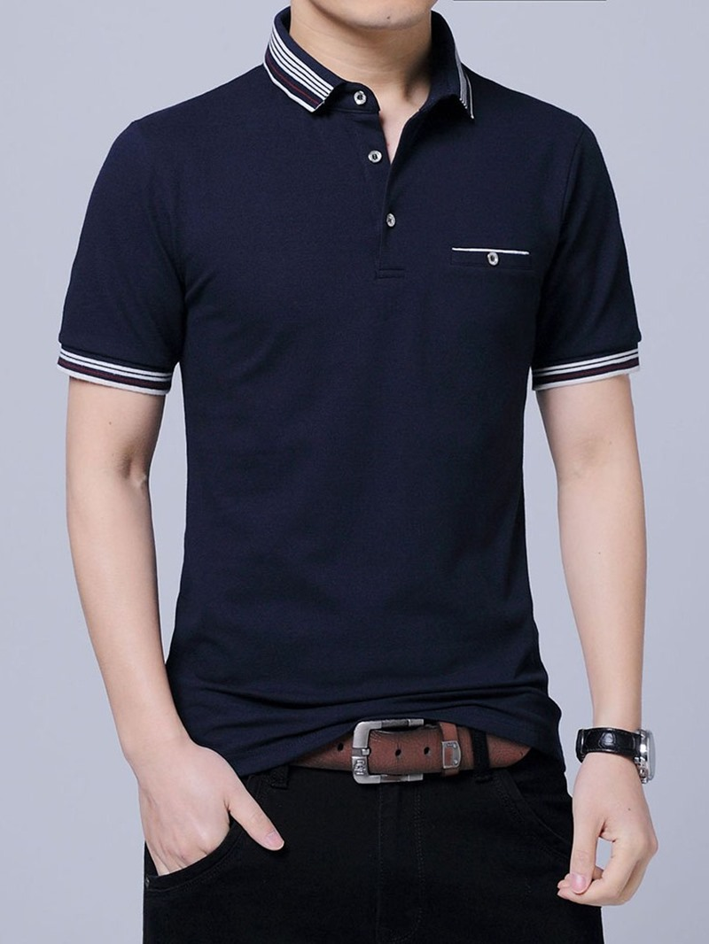Ericdress Stripe Casual Polo Neck Polo Mens Shirt