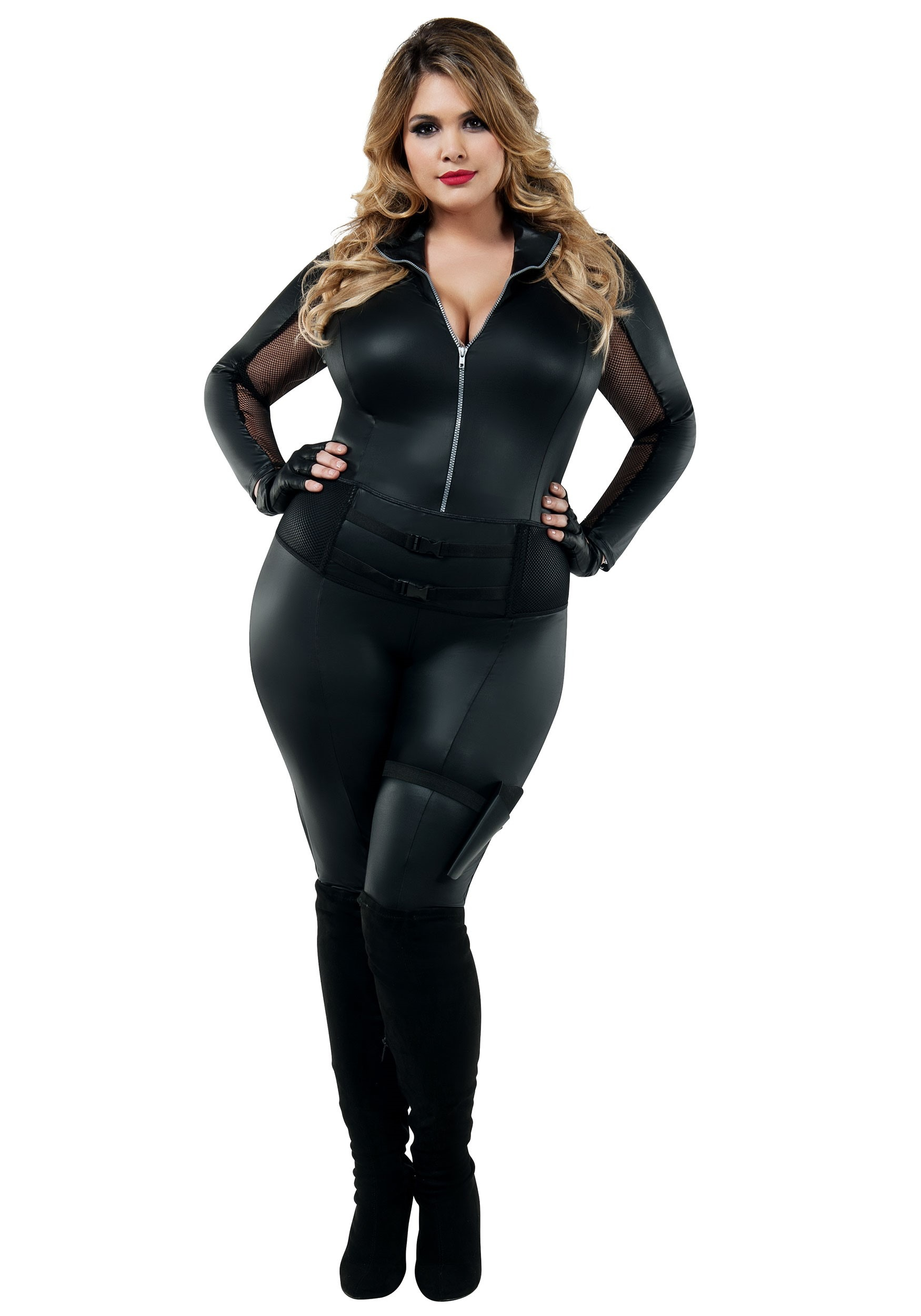 Secret Agent Womens Plus Size Costume | Spy Jumpsuit
