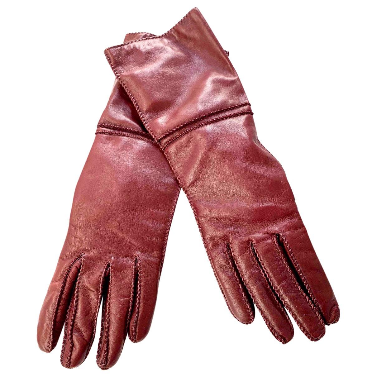 Max Mara \N Handschuhe in  Bordeauxrot Leder
