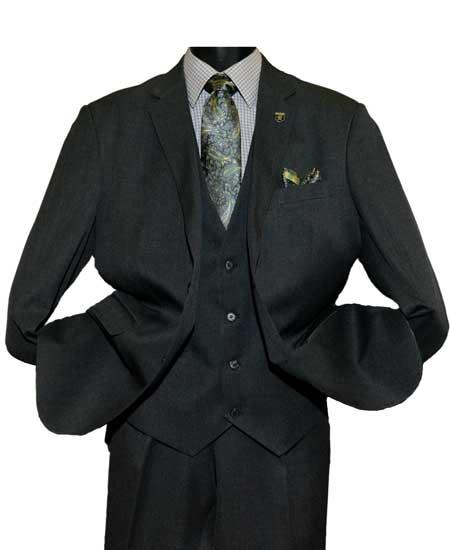 Mens Black Notch Lapel Single Breasted Two Button Vested Suit