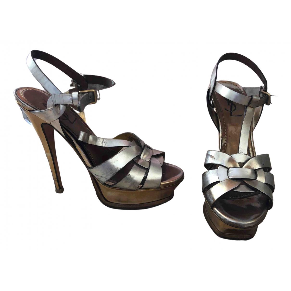 Yves Saint Laurent Tribute Gold Patent leather Sandals for Women 37.5 EU