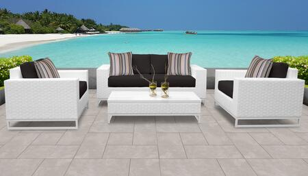 Miami Collection MIAMI-05f-BLACK Miami 5-Piece Patio Set 05f with 1 Coffee Table   2 Club Chair   1 Left Arm Chair   1 Right Arm Chair - Sail White