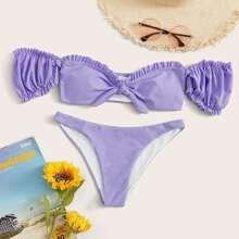 Schulterfreier Bikini Set mit Rueschenbesatz