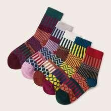 Vielfarbig Gestreift Laessig Socken