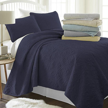 Casual Comfort Premium Ultra Soft Damask Pattern Quilted Coverlet Set, One Size , Blue