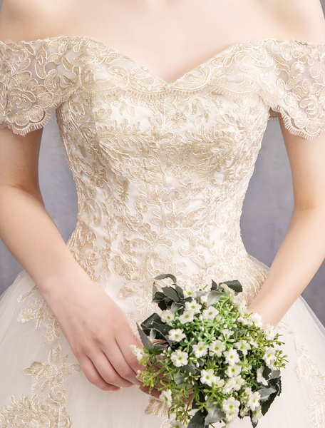 Milanoo Princess Wedding Dress Ivory Lace Applique Off The Shoulder Short Sleeve Bridal Gown
