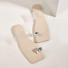 Gemstone Decor Toe Loop Slide Sandals