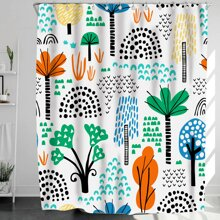 Plant Print Shower Curtain With 12hooks
