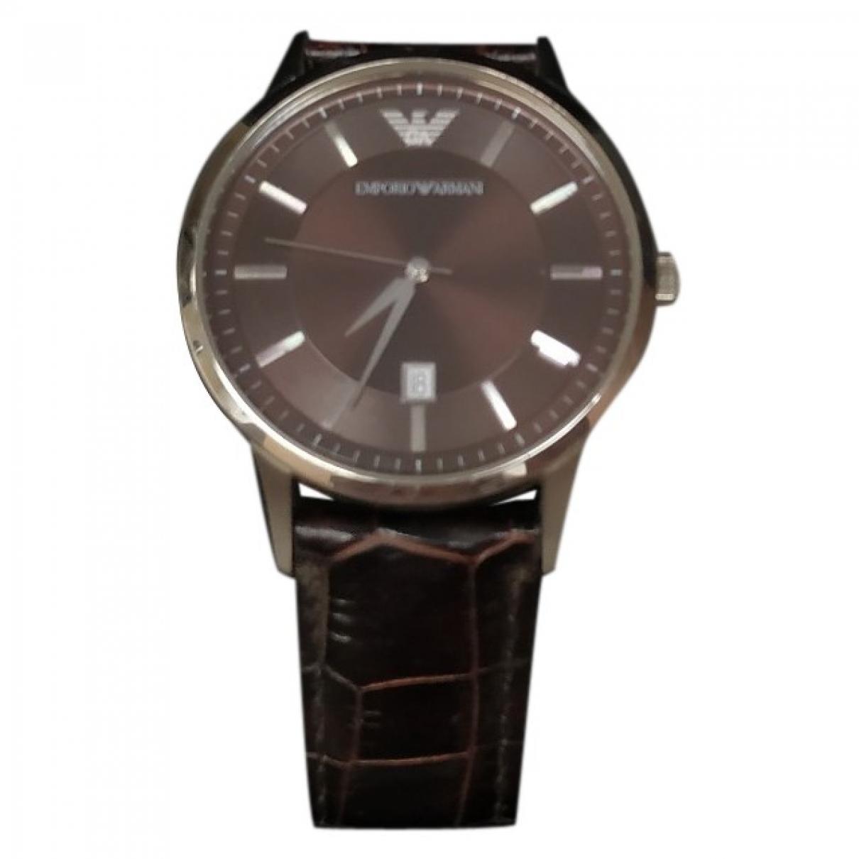 Emporio Armani \N Uhr in  Braun Stahl