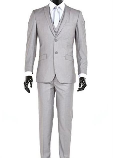 Men's Slim Fit Single Breasted 2 Button Vested Light Gray Suit
