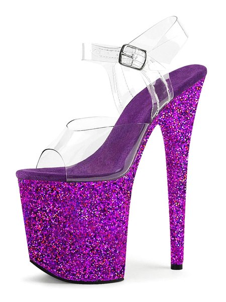 Milanoo Sandalias atractivas para la mujer Rosa PU del dedo del pie del pio del cuero de lentejuelas transparentes sandalias atractivas
