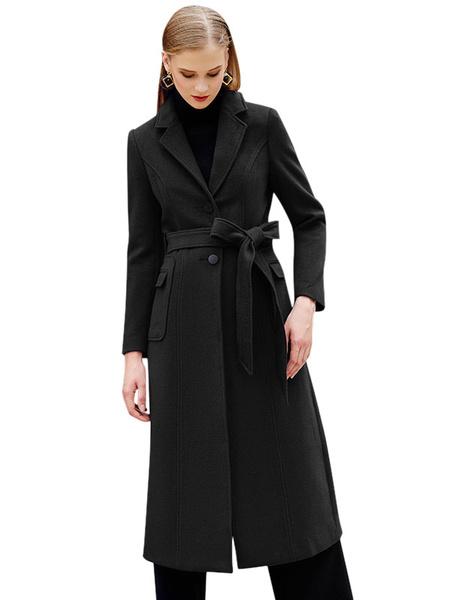 Milanoo Burgundy Winter Coat Long Sleeve Notch Collar Wool Wrap Coats For Women